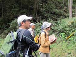 龍馬の森の植物観察会で地元住民に解説する渡邊先生(左)